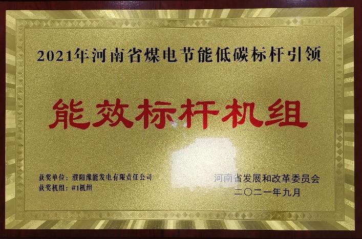 """蝉联!濮阳U赢电竞官网再获""""河南省能效标杆机组""""荣誉称号"""